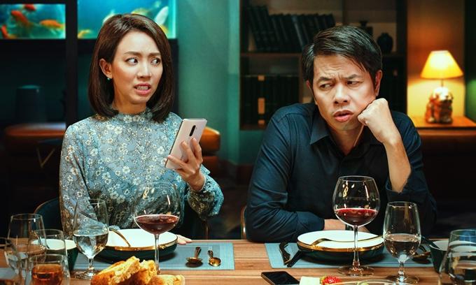 Thu Trang và Thái Hòa vào vai vợ chồng trong Tiệc trăng máu.