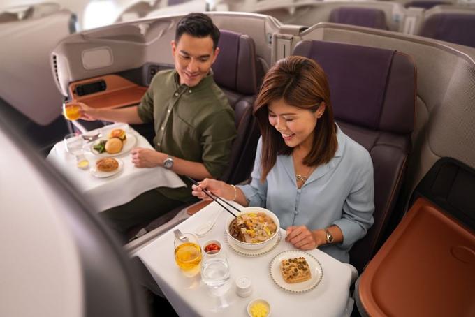 Singapore Airlines mở nhà hàng tạm thời trong siêu máy bay A380. Ảnh: Singapore Airlines.