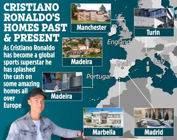 Cuộc sống C. Ronaldo bắt đầu từ một căn hộ khiêm tốn ở Madeira nơi anh lớn lên và mơ mộng về một ngày trở thành siêu sao nổi tiếng. Khi sự nghiệp khởi sắc, chàng trai trẻ chia tay hòn đảo quê nhà, tới thủ đô Lisbon khoác áo Sporting Lisbon rồi tới Anh thi đấu cho MU, tới Tây Ban Nha chơi cho Real và giờ là Juventus ở Italy. Hưởng mức lương cao ngất cùng các bản hợp đồng quảng cáo, cuộc đời CR7 thay đổi và những căn nhà cũng được nâng cấp hiện đại và xa hoa. Ảnh: The Sun.
