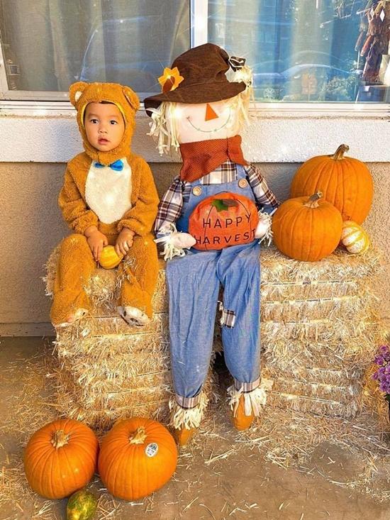 Bé Max được mẹ Phạm Hương đầu tư một bộ trang phục gấu con để hóa trang trong dịp Halloween này. Năm nay, Max sắp tròn hai tuổi nên Phạm Hương muốn con được vui chơi, tận hưởng những lễ hội quan trọng ở Mỹ.