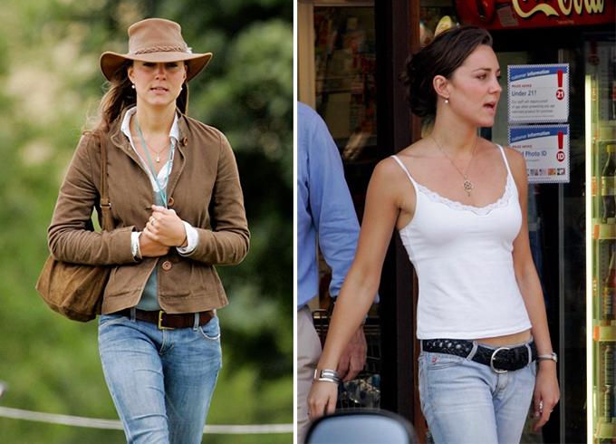 Từ bỏ quần cạp trễ  Trước khi bước chân vào hoàng gia Anh, Kate yêu thích kiểu quần jeans cạp trễ phóng khoáng. Trong những bức ảnh được chụp năm 2005, cô kết hợp chúng theo phong cách cao bồi hoặc mix cùng áo hai dây trẻ trung. Tuy nhiên sau đó, trang phục này nhanh chóng bị loại khỏi tủ đồ của cô.