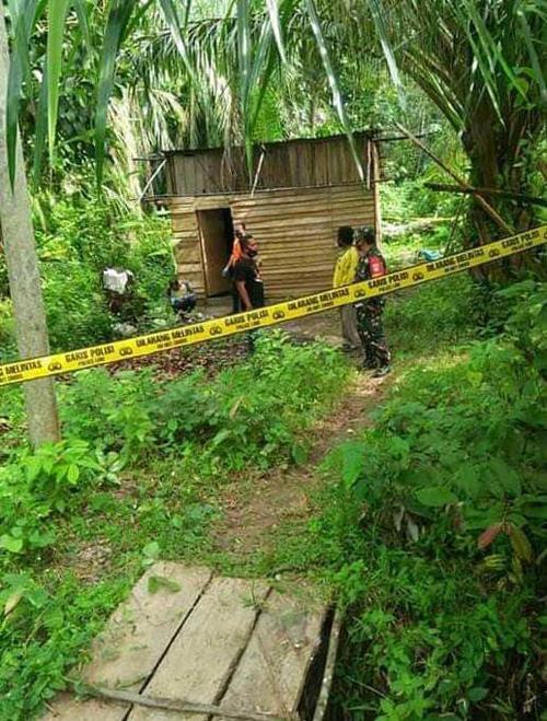 Túp lều nằm ở vị trí hẻo lánh ở Đông Aceh, nơi cậu bé 9 tuổi bị giết chết khi cố ngăn kẻ đột nhập hiếp mẹ. Ảnh: Viral Press.
