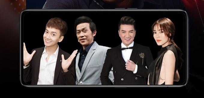 Ca sĩ Ngô Kiến Huy, nghệ sĩ Hoài Linh, ca sĩ Đàm Vĩnh Hưng, diễn viên Lan Ngọc (từ trái qua) góp giọng trong phim Tiệc trăng máu.