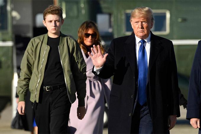 Barron là con út của ông Trump và là người con duy nhất của ông và bà Melania. Ảnh: AP.