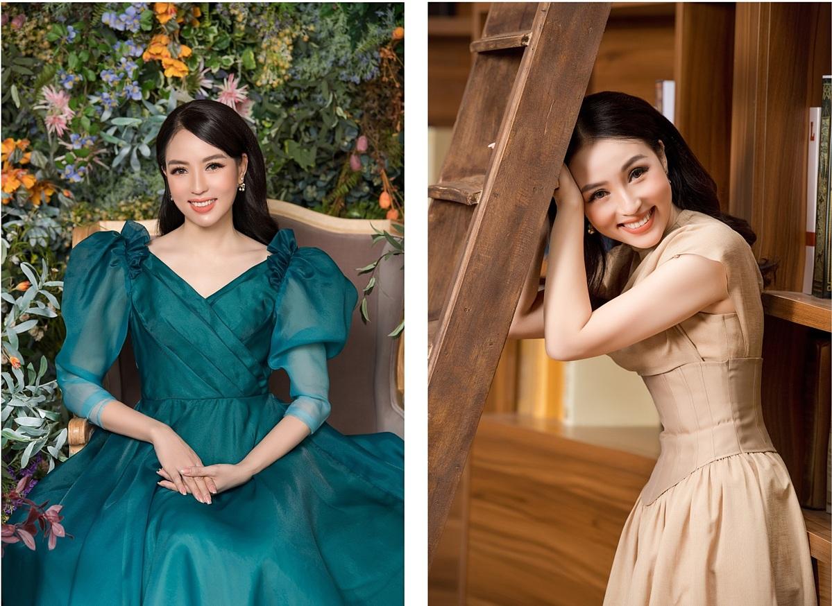 Hoa hậu Thu Hiền sở hữu gương mặt tươi trẻ, làn da căng bóng.