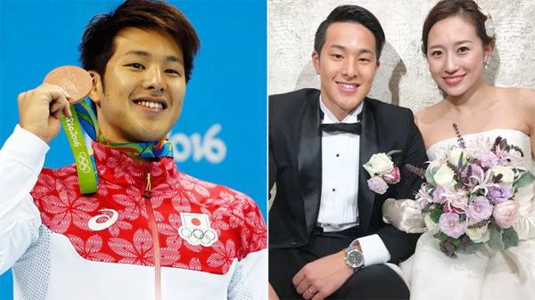 Seto giành HC đồng Olympic Rio 2016 (trái) và trong ngày cưới với bà xã Yuka Mabuchi. Ảnh: DT.