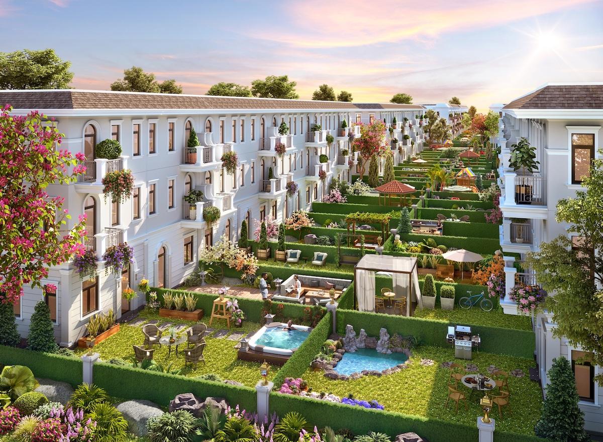 Nhà phố vườn Aqua City sở hữu khoảng sân vườn rộng 36 m2, cho phép gia chủ tự do sáng tạo khu vườn theo ý mình. Ảnh phối cảnh.