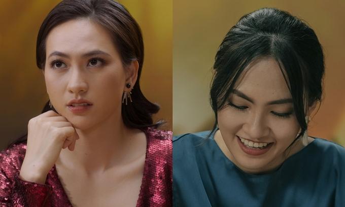 Diễn viên Phương Anh Đào (trái) và ca sĩ Nguyên Hà trong phim Sài Gòn trong cơn mưa.