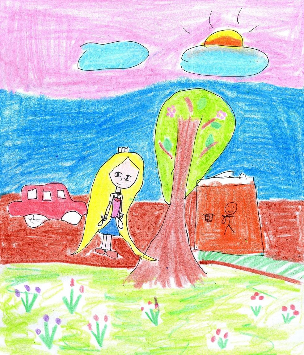 Khánh An (6 tuổi) vừa vào lớp 1, biết được chương trình hỗ trợ sách cho các bạn nên bé rất hào hứng vẽ hình và tô màu, dù bình thường không thích tô màu. Bé hy vọng qua những bức tranh của mình có thể góp phần giúp các bạn đều được đến trường. Bé mong các bạn mỗi ngày đến trường đều là ngày vui như bé.
