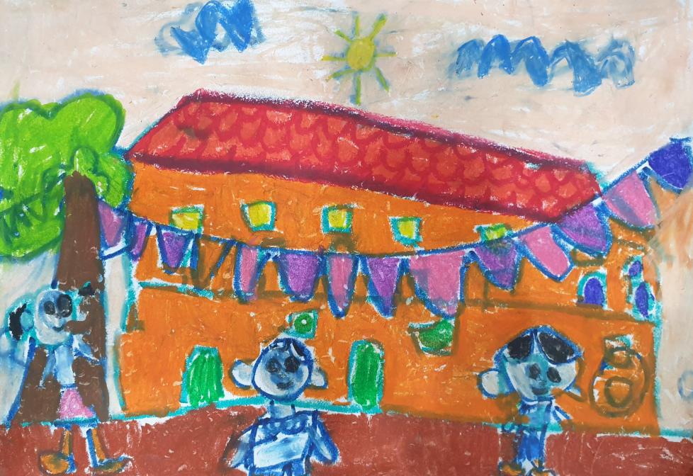 Ngôi trường mầm non đầy sắc màu, có nhiều đồ chơi, bạn bè... qua nét vẽ của bé Minh Châu (5 tuổi). Bé lúc nào cũng líu lo rằng với mẹ rằng muốn đến trường mỗi ngày.