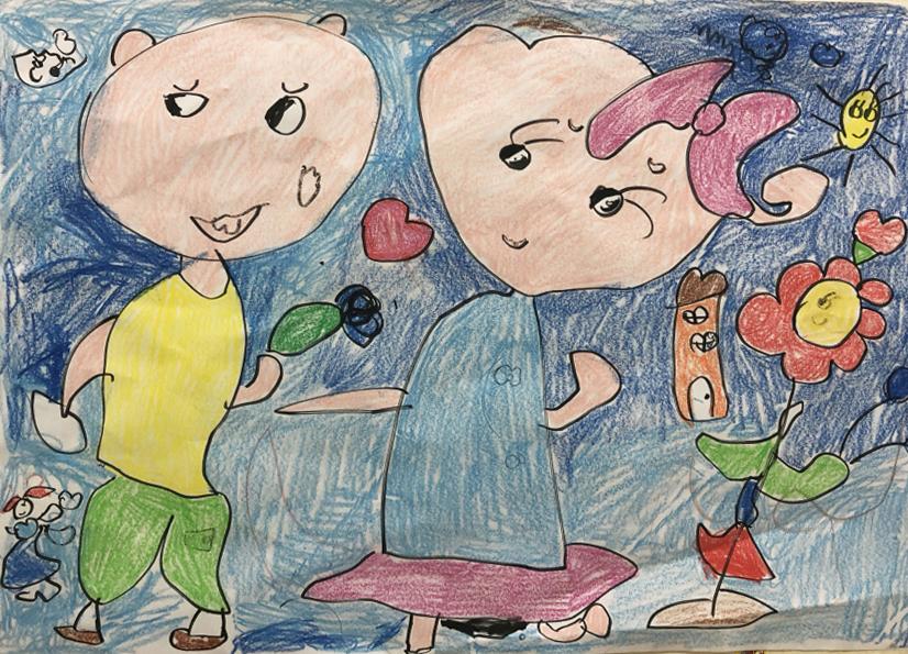 Ở lớp của Trúc Anh, các bạn cùng chơi, hát múa với nhau rất vui. Bé lại còn được vẽ những điều mình yêu thích. Cô bé thích đến trường vì trường lúc nào cũng đông vui hơn ở nhà.