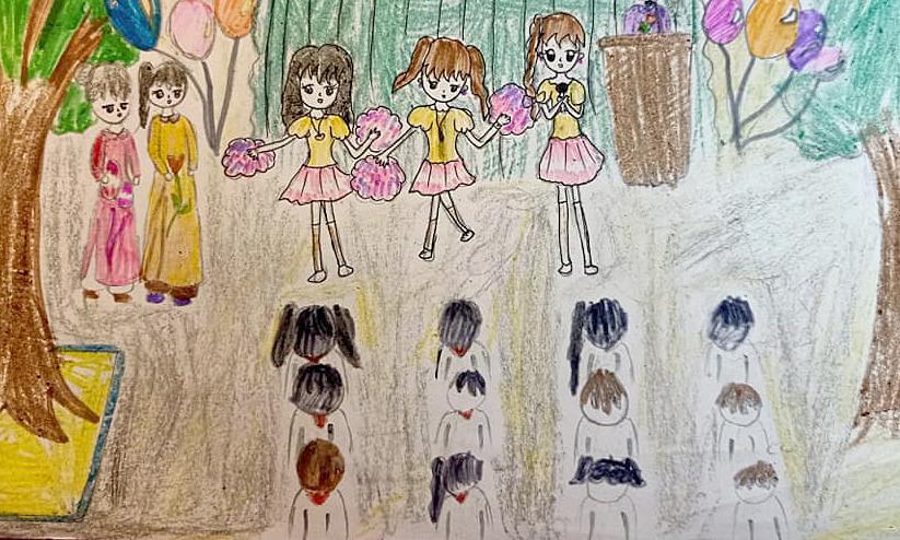 Bé Yến Nhi (10 tuổi) thích đến trường vì được nghe cô giáo giảng bài, chơi đùa cùng các bạn, không khí ở trường lúc nào cũng náo nhiệt. Cô bé mong sẽ Covid-19 sẽ được đẩy lùi để không phải nghỉ học ở nhà.