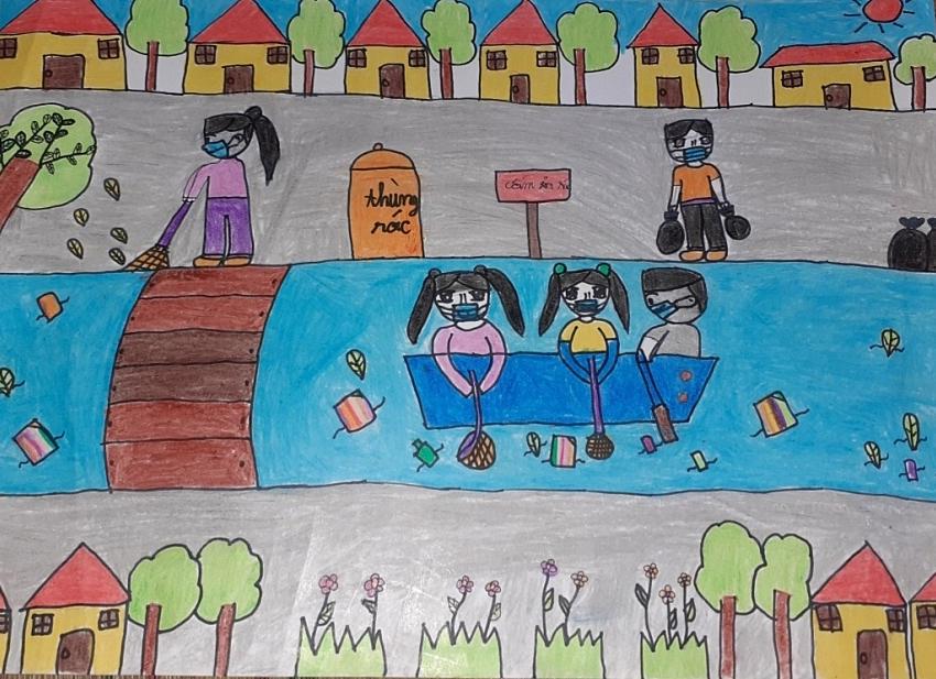Bé Phước Tường (8 tuổi) gửi bức tranh đến cuộc thi gửi gắm thông điệp mọi người hãy cùng bảo vệ môi trường.