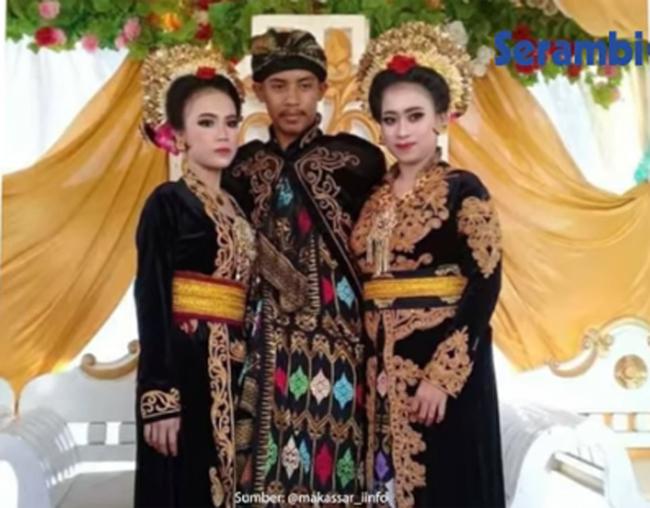 Ahmad Rizal trái ôm phải ấp hai người vợ trong đám cưới hôm 12/10. Ảnh: Tribunnews.