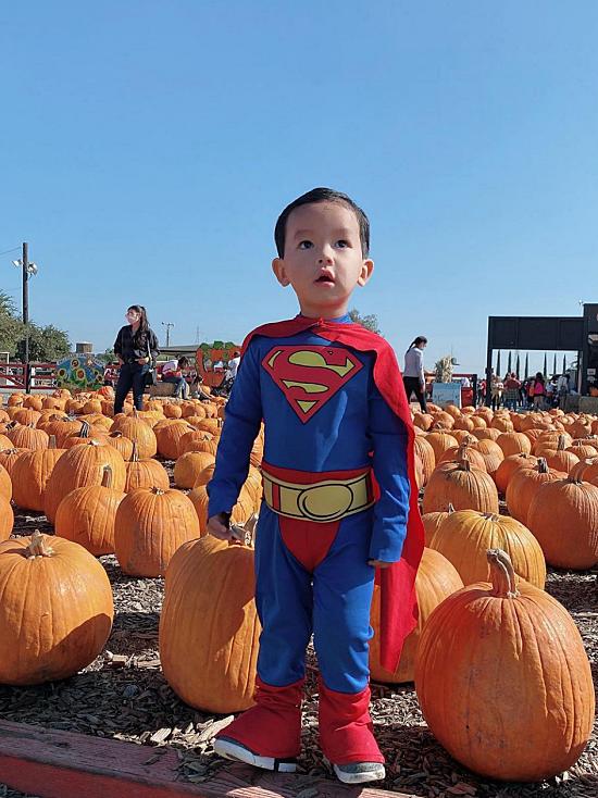 Max hào hứng diện trang phục superman