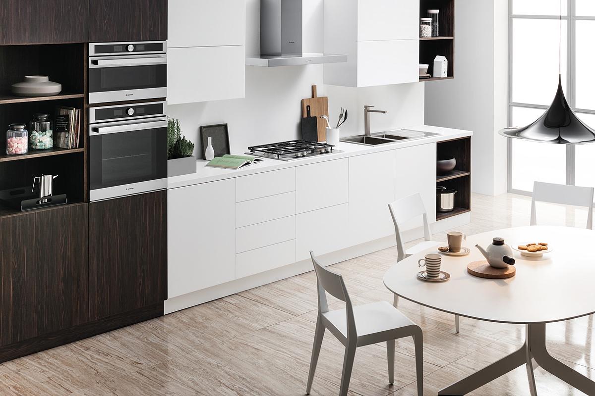 Caption ảnh: Thiết bị bếp và gia dụng Ariston làm sáng không gian bếp của bạn.