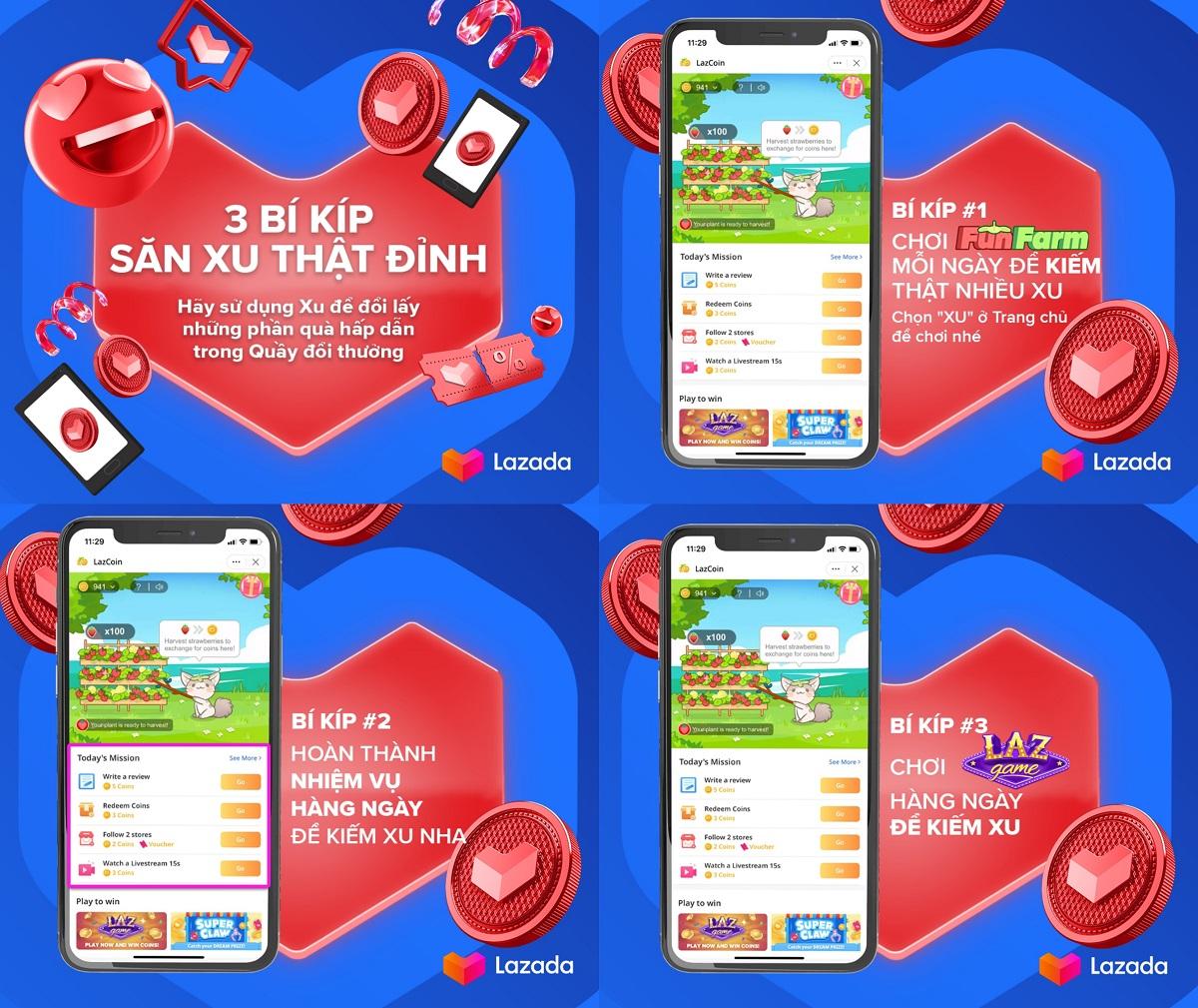 Các trò chơi nhỏ trong LazGame trên ứng dụng Lazada không chỉ mang tính giải trí mà còn là bí quyết giúp người dùng săn xu, đổi voucher và giảm giá trực tiếp trên hóa đơn khi mua hàng. Ảnh: Lazada Việt Nam.