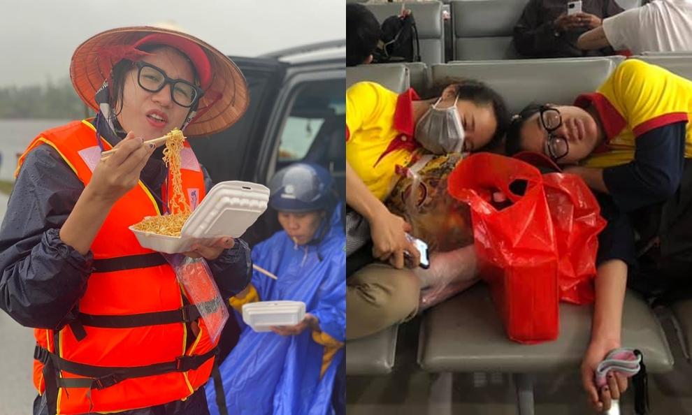 Trang Trần trong chuyến cứu trợ miền Trung.