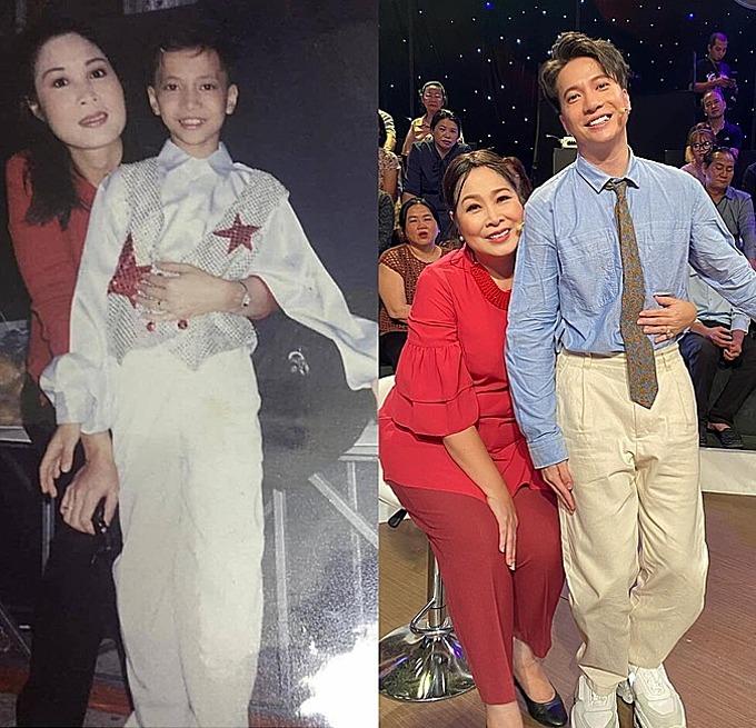 NSND Hồng Vân chia sẻ về ảnh ngày ấy - bây giờ bên S.T Sơn Thạch: Bức ảnh 20 năm S.T 365 nay đã cao và lớn là người của công chúng rồi. Vẫn cái ôm đó nhưng con người ấy nay đã 1m74 rồi.
