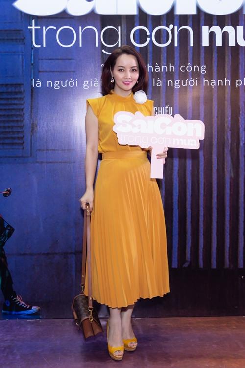 Diễn viên - đạo diễn - nhà sản xuất Mai Thu Huyền đến ủng hộ tác phẩm đầu tay của các nhà làm phim trẻ.