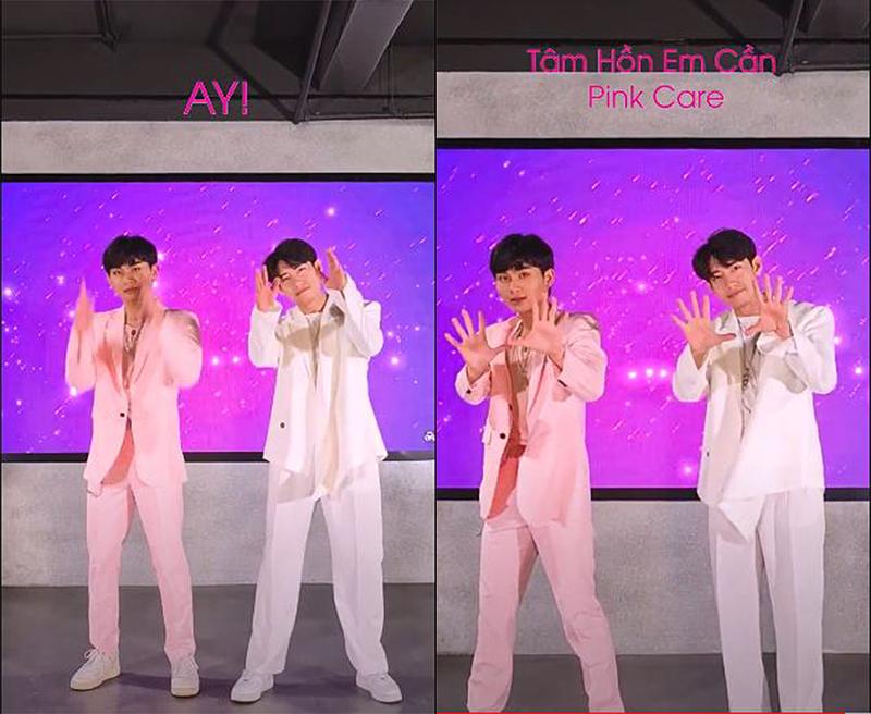 Quang Đăng nhảy cùng một vũ khác khi thể hiện vũ đạo