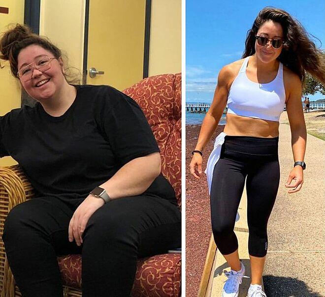Shelley Bishop trước và sau khi giảm cân.