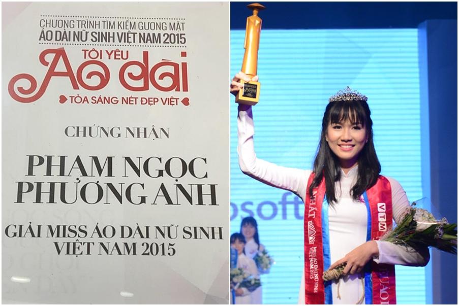 Trước đó, Phương Anh còn chiến thắng cuộc thi Nữ sinh Áo dài 2015.
