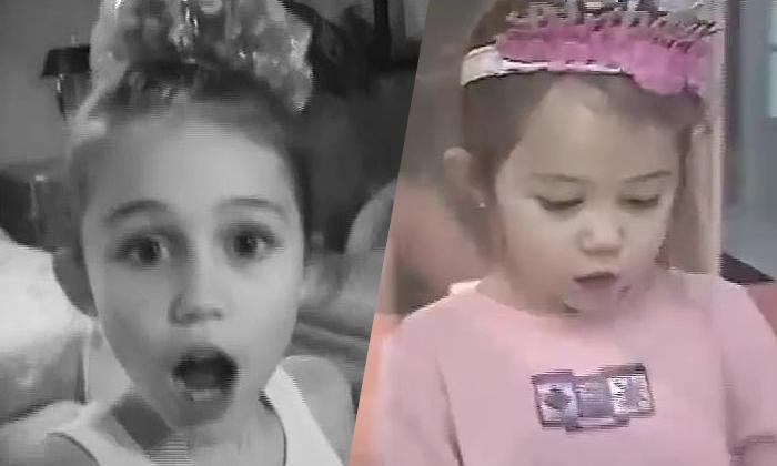 Miley Cyrus trong bữa tiệc sinh nhật lúc còn răng sún.