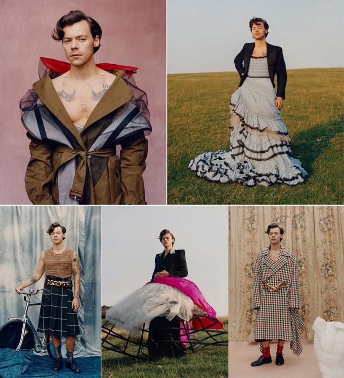Ở trang trong của Vogue, ngôi sao 26 tuổi biến hóa với nhiều thiết kế nữ tính khác. Bộ hình đặc biệt của anh đã làm chao đảo giới mộ điệu, gây ra nhiều ý kiến trái chiều. Đặc biệt, nhà báo kiêm nhà hoạt động xã hội Candace Owens châm ngòi một cuộc tranh cãi mới khi lên tiếng chỉ trích Harry trên Twitter: Không xã hội nào có thể tồn tại nếu thiếu những người đàn ông mạnh mẽ. Phương Đông hiểu điều này, còn ở phương Tây, đàn ông ngày càng nữ tính hóa. Hãy mang những người đàn ông nam tính trở lại.