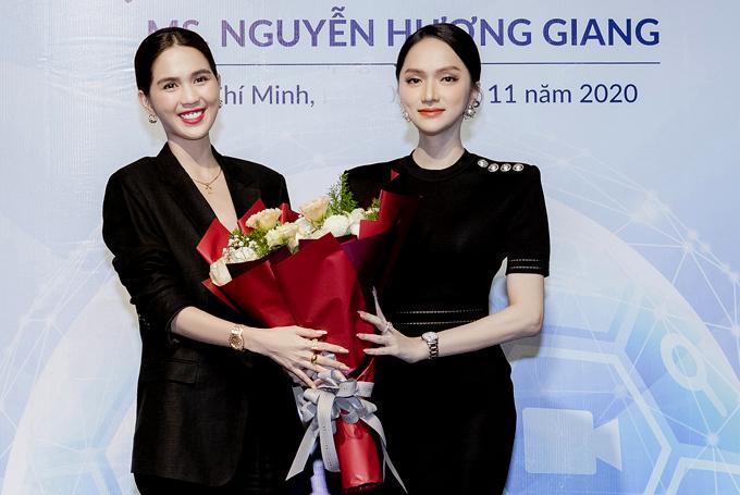 Ngọc Trinh chúc mừng cô em đồng nghiệp. Nữ người mẫu tin tưởng Hương Giang đủ sức đảm đương, hoàn thành tốt mọi công việc được giao trên cương vị mới.