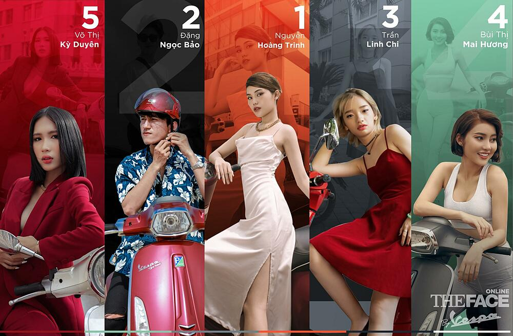 Top 5 gương mặt dẫn đầu bảng xếp hạng vòng 2 The Face Online By Vespa. Ảnh: Vespa