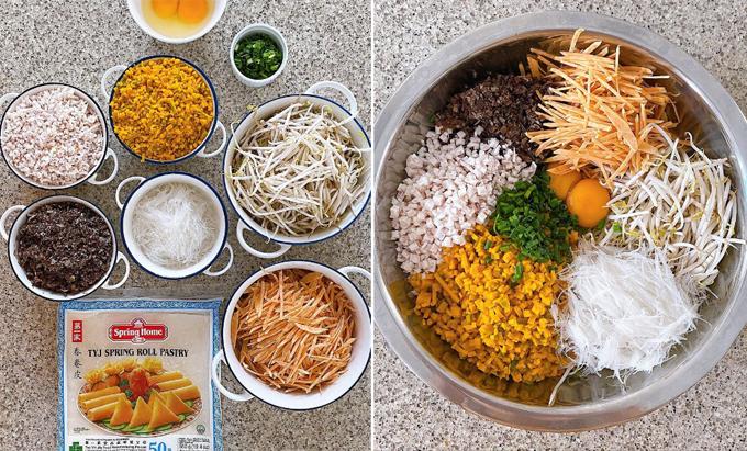Món nem chay làm bằng nồi chiên không dầu với công thức của Hà Tăng.