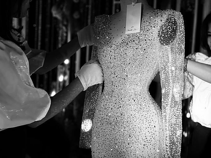 Hàng trăm nghìn viên pha lê kích cỡ khác nhau, nhập khẩu từ Áo được đính kết thủ công trên toàn bộ thân váy, tạo hiệu ứng bắt sáng tối đa.