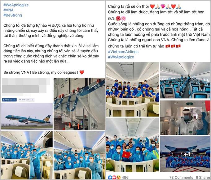 Các tiếp viên hàng không Vietnam Airlines đăng status xin lỗi.