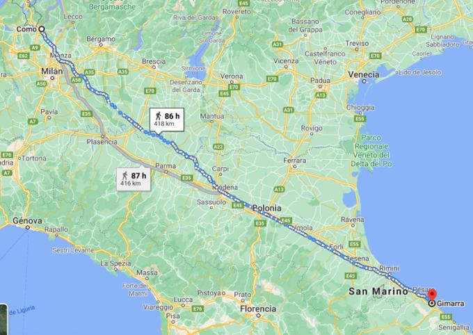 Quãng đường người đàn ông Italy đi bộ từ Como tới Gimarra. Đồ họa: ODD.