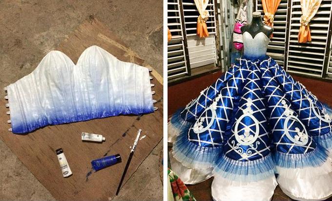 Tôi vẽ áo màu xanh ombre để phù hợp với phần dưới của bộ đầm. Những ngày đó, tôi dành thời gian làm váy sau khi trở về nhà từ trường học. Đôi lúc tôi cảm thấy vô cùng mệt mỏi, nhưng cứ nghĩ tới kết quả là tôi lại có thêm năng lượng để tiếp tục công việc khó khăn, chàng trai Philippines tâm sự.