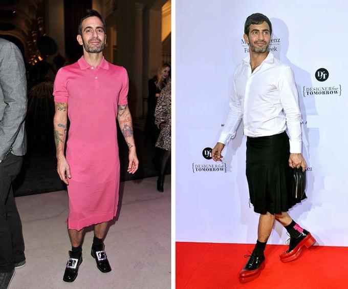 Marc JacobsNhà thiết kế nổi tiếng không ngại thỉnh thoảng mặc đầm liền hoặc chân váy và thậm chí biến chúng thành món đồ chủ yếu trong tủ quần áo của mình. Như Jacobs giải thích: Tôi đã khám phá ra cảm giác mặc váy tuyệt như thế nào. Chúng thoải mái và mặc chúng khiến tôi hài lòng, vì vậy tôi đã mua nhiều hơn. Và bây giờ tôi không thể ngừng mặc chúng.