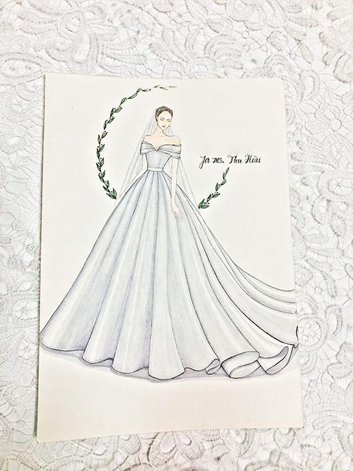 Bản phác thảo đầm cưới chính của Thu Hoài. Ảnh: Hacchic Couture