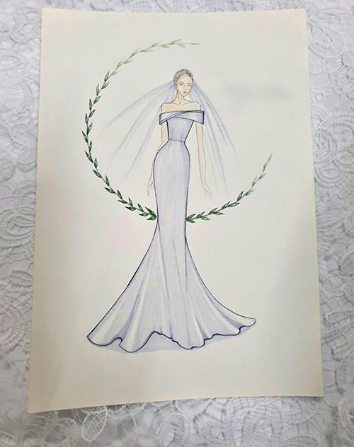 Bản phác thảo váy cưới thứ hai của Thu Hoài. Ảnh: Hacchic Couture
