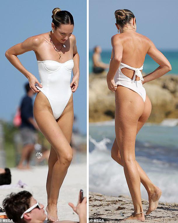 Thiên thần Victorias Secret sở hữu hình thể săn chắc với vòng ba tròn trịa, gợi cảm và đôi chân thon dài nuột nà.