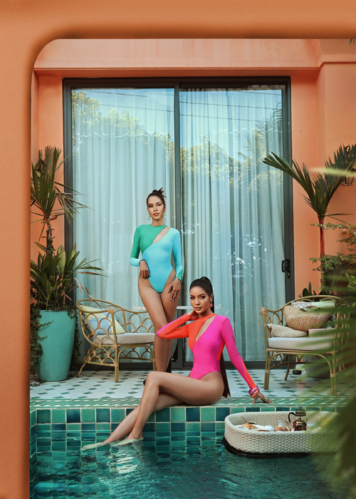 Khi sử dụng màu đơn sắc, trang phục đi biển của phái đẹp lại kích thích thị giác bằng gam màu nóng với cách phối hợp ăn ý.