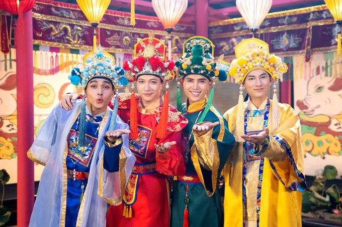 Jun Phạm, S.T, Will và Isaac (từ trái qua) tái hợp trong danh nghĩa nhóm 365, quay MV nhạc phim Trạng Tí phiêu lưu ký.