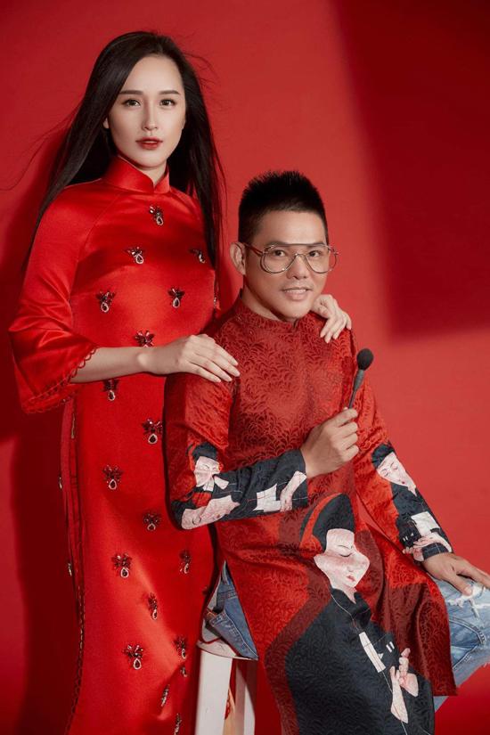 Hoa hậu Mai Phương Thuý và chuyên gia trang điểm Phúc Nghĩa.