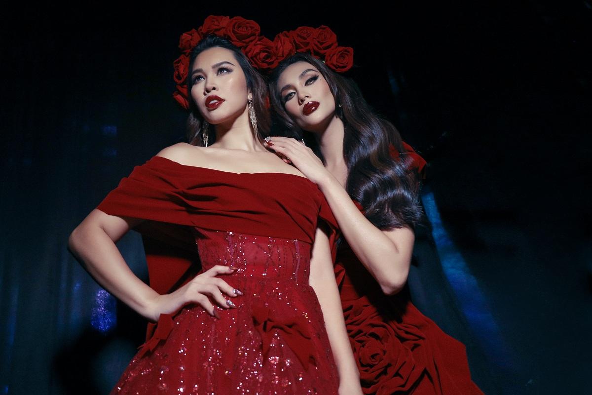 Võ Hoàng Yến và Hà Anh quyến rũ trong sắc đỏ từ bộ sưu tập của nhà thiết kế Tuấn Trần và bộ móng ấn tượng của Pang Mỹ Nguyên. Ảnh: Nguyễn Du.