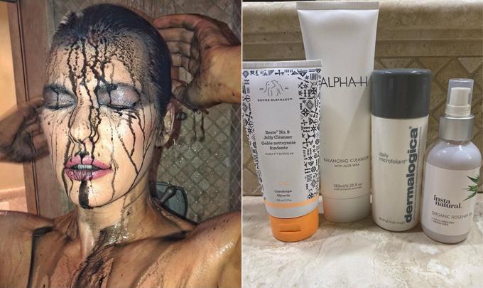 Milla chia sẻ các sản phẩm làm sạch da được cô ưa chuộng.