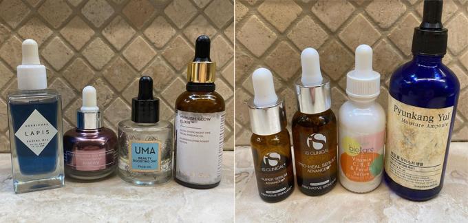 Các loại tinh dầu, serum Milla đang sử dụng.