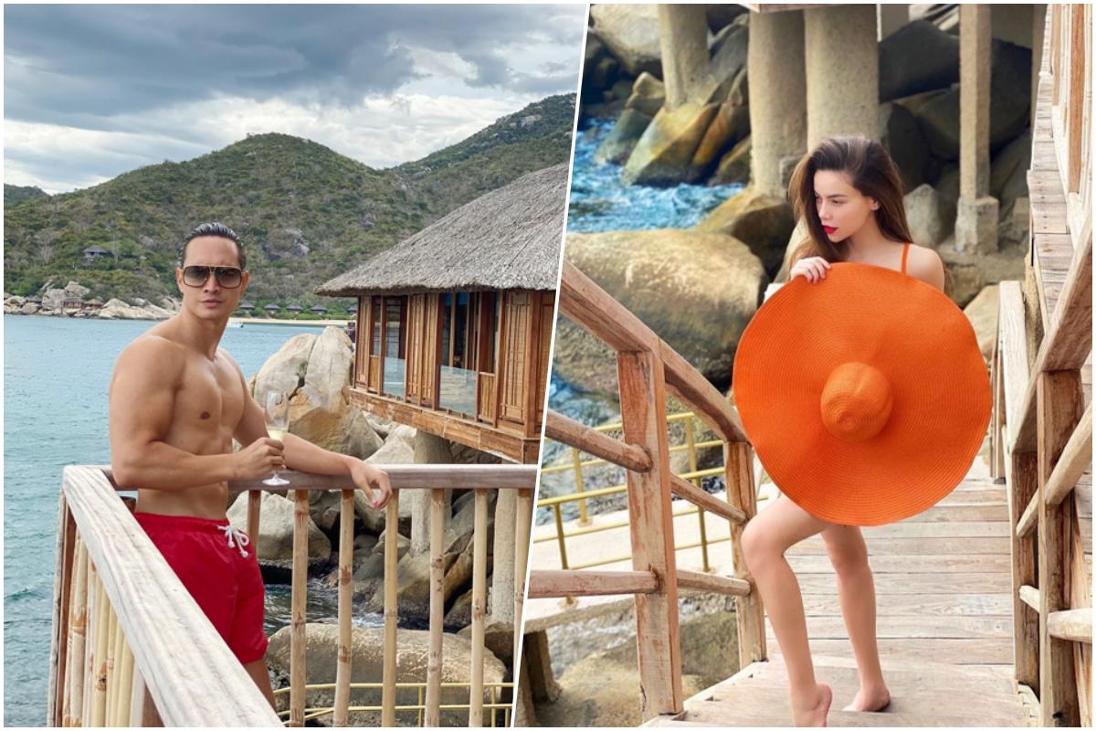 Six Senses Ninh Vân Bay là một trong những điểm đến hút sao Việt nhất năm qua, khi hoạt động du lịch quốc tế bị đóng băng, dân mê dịch chuyển ưu tiên nghỉ dưỡng tại những resort gần gũi với thiên nhiên. Resort mang phong cách thân thiện với môi trường, không sử dụng đồ nhựa, túi nilon tạo cảm giác thoải mái. Hơn nữa, hầu hết các villa đều hướng biển, xung quanh được bao phủ bởi rừng cây. Căn villa có cầu trượt bắt từ tầng 2 xuống thẳng hồ bơi vô cực khiến Quang Vinh, Bảo Thy... thích thú.