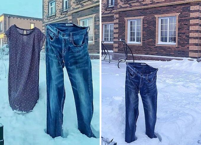 Khi bạn cố phơi quần áo trong ngày -40 độ C.