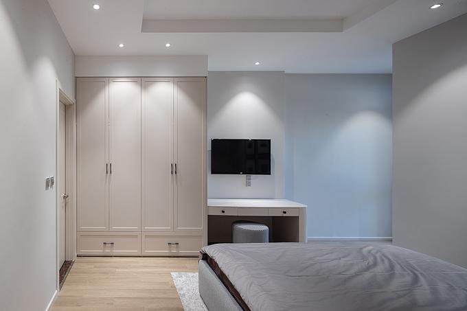Phòng ngủ với nội thất tối giản nhằm tạo sự thoáng khí, tăng chất lượng giấc ngủ.