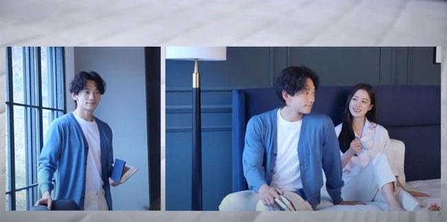 Hình ảnh hậu trường buổi quay quảng cáo của đôi vợ chồng Rain - Kim Tae Hee được hãng chăn nệm La Cloud chia sẻ hôm 6/1, khiến khán giả quan tâm. Trong hình ảnh được hé lộ, cặp sao dành cho nhau những cử chỉ gần gũi, âu yếm.